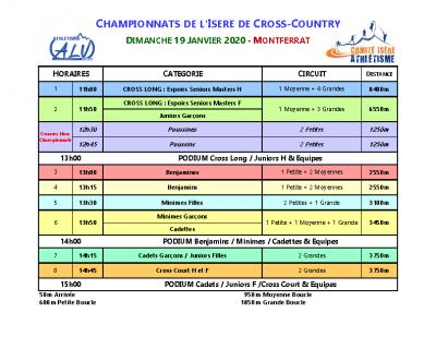 Programme Championnats Départementaux Cross 2020