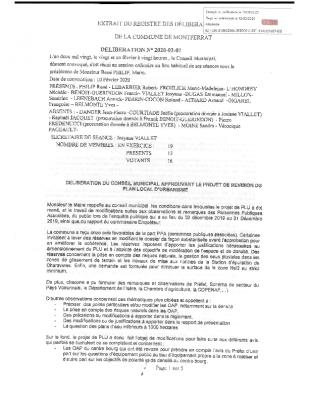 Délibération n°2020-02-07 du CM approuvant le projet de révision du Plan Local d'Urbanisme